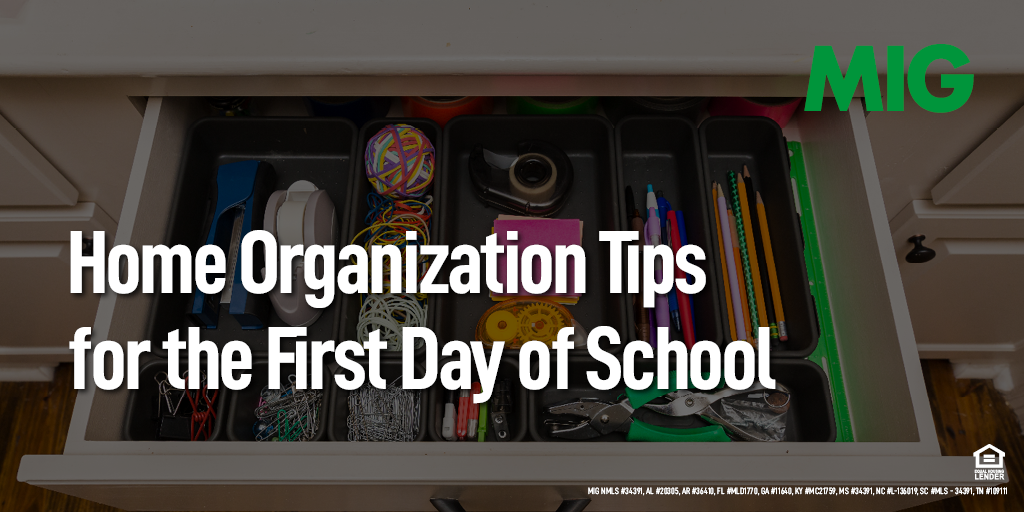 Home Organization Tips for the First Day of School